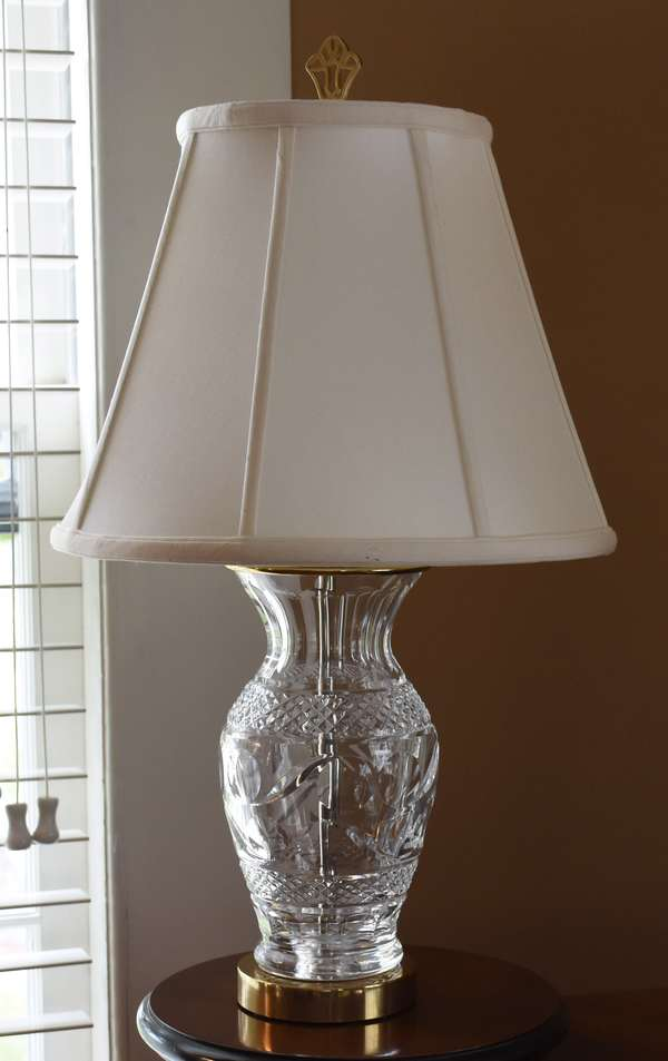 Waterford crystal table lamp with shade, 9