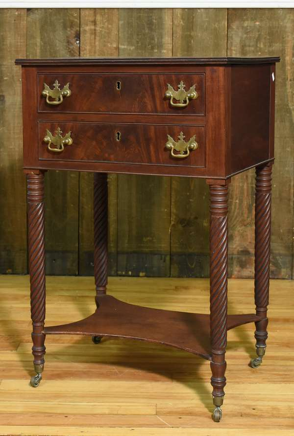 Good 19th C. Sheraton mahogany sewing/two drawer work stand with family history, 31