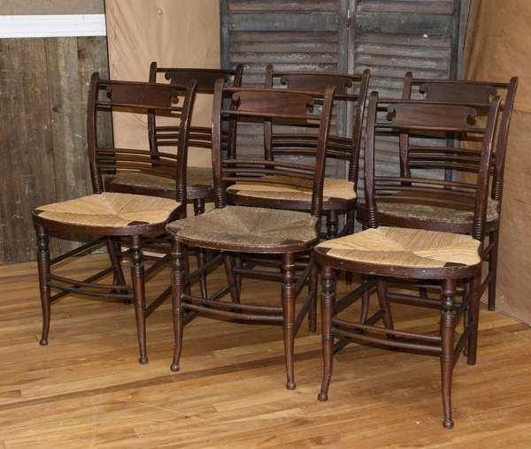 Good set of six grain painted 19th C. Sheraton fancy balloon seat side chairs with rush seats