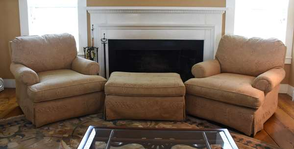 Good pair of Paul Robert upoholstered club chairs with ottoman, three pieces total