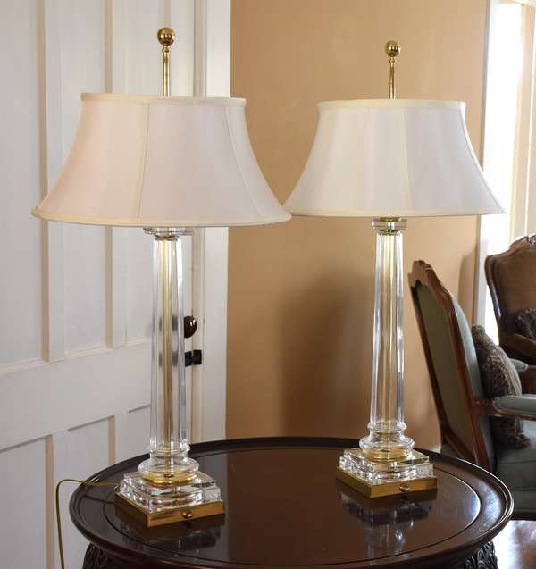 Pair of Columar brass and glass table lamps with shades, purchased at Scully & Scully, NYC, 31