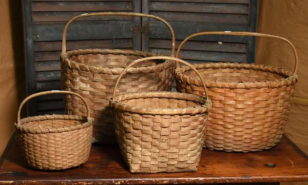 Grouping of four splint gathering baskets