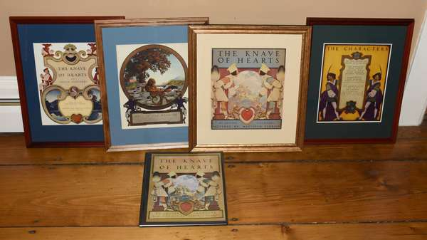 Good set of Maxfield Parrish prints and book, Knave of Hearts, four prints and book