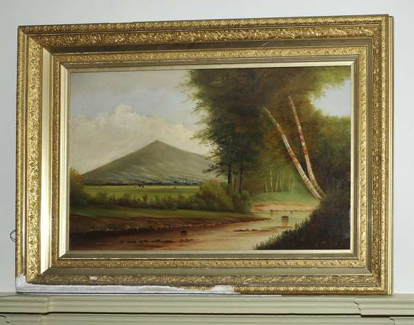 Large oil on artist board, Blue Hills of Milton, Mass., likely the work of D.A. Fisher (unsigned) 22