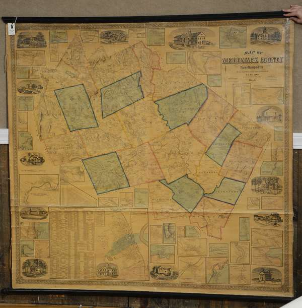 19th C. wall map of  Merrimack County, NH, H.F. Walling 1858, 58