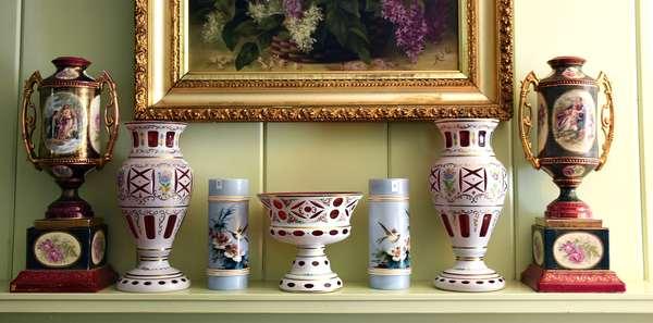Good variety of fine porcelains and glassware including PAIR COVERED MANTLE URN BLEU DE ROI SEVRES (399)