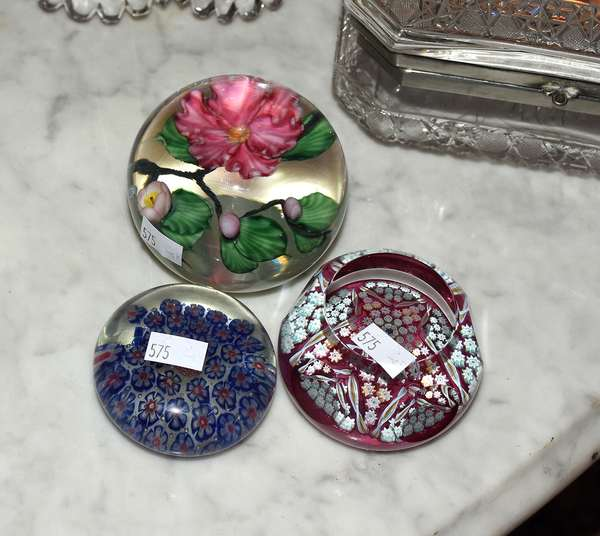 Several glass paperweights including Perthshire and others