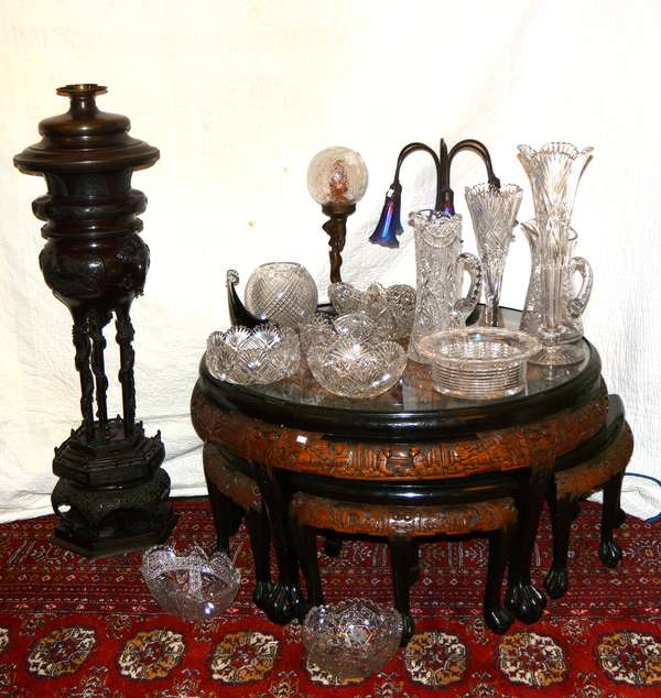 Carved Asian tables, glassware, and more.