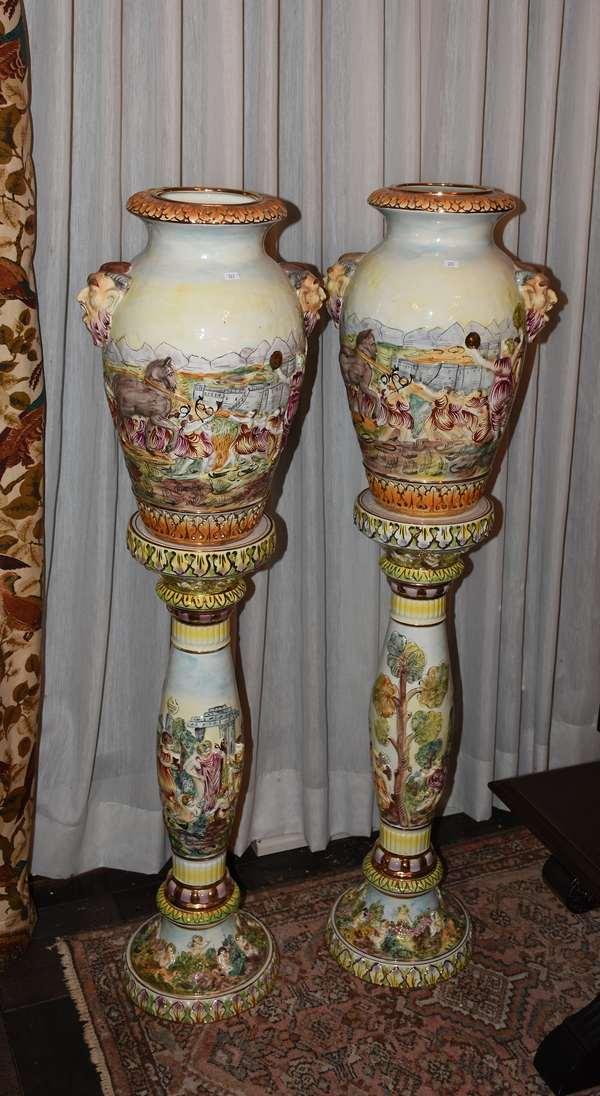 Italian majolica urns on pedestals (223)