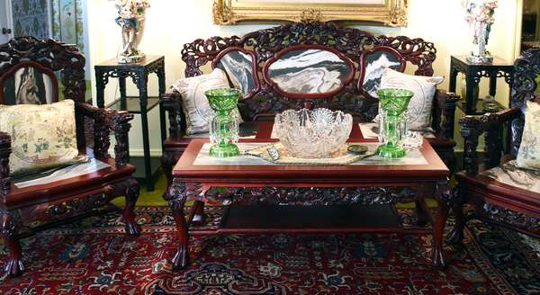 ORIENTAL CARVED SALON SET W MARBLE SEATS AND BACKS - TWO SIMILAR ASIAN STANDS - CUT GLASS AND MORE (421)