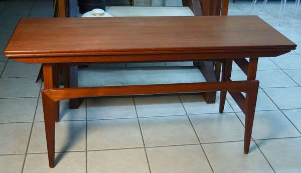 Pair of Kai Kristiansen teak Mid-Century elevator tables when dining, table converts from coffee table to a dining table, which offers great diversity 28