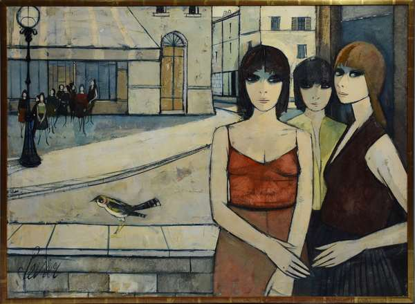 Charles Levier (FR. 1920-2003) oil on canvas three women with bird in foreground, group women standing in the background.  A good example of Levier's figurative Cubist work, signed Levier L.L. 30