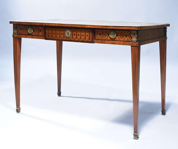 Fine French 19th C. Louis XVI mahogany rosewood and exotic inlay bureau plat. Bronze dore mounts, 43