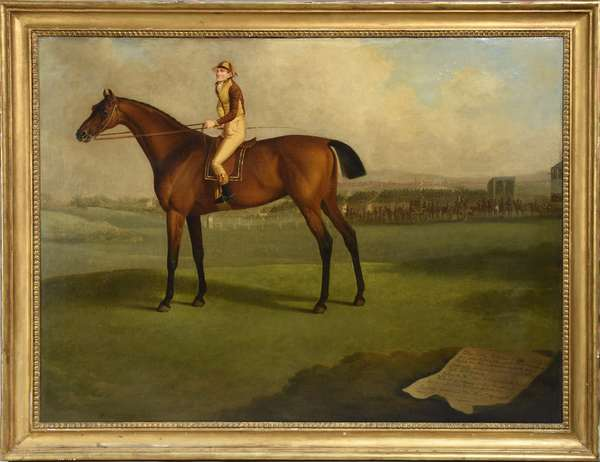 Charles Towne Sr. (Eng. 1760-1850) oil on canvas dated 1793 of jockey on racehorse, other jockey's on horseback and large crowd in the distance.  34