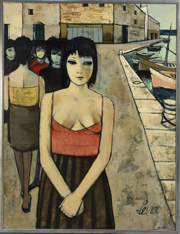 Charles Levier (Fr. 1920-2003) oil on canvas of young woman with friends, boats to the side, 40
