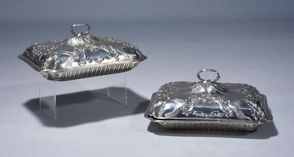 Pair of Paul Storr English Geo III sterling entree dishes.  London 1797 chased with birds, foliate and floral motif, twig form finials.  11.25