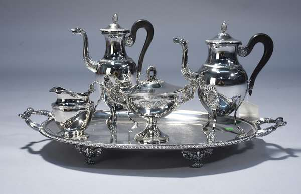 French Empire first silver standard four piece coffee and tea set on period footed tea tray.  Coffee pot 11