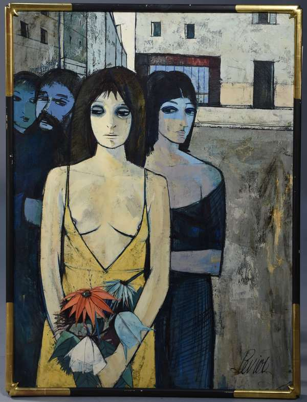 Charles Levier (Fr. 1920-2003) oil on canvas, three women with moustached man, 40H. x 30
