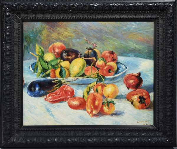Wilson Oron (?) oil on canvas still life of fruit and vegetables.  Very capable artist in the style of  Cezanne, 20