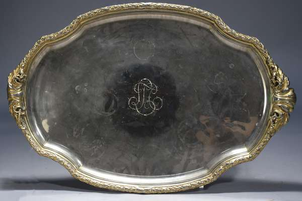 French 19th C. silverplate tea tray, gilt with silver highlights, 32