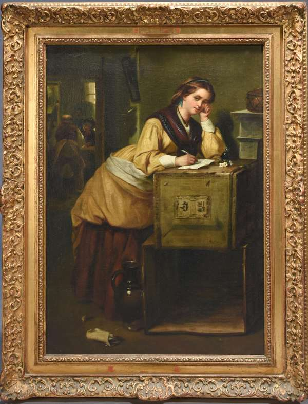 19th C. oil on canvas of young woman writing a letter, detailed scene of a young woman composing a love letter.  Notations on back attribute this work to Otto Kirberg (1850-1926) 24.5
