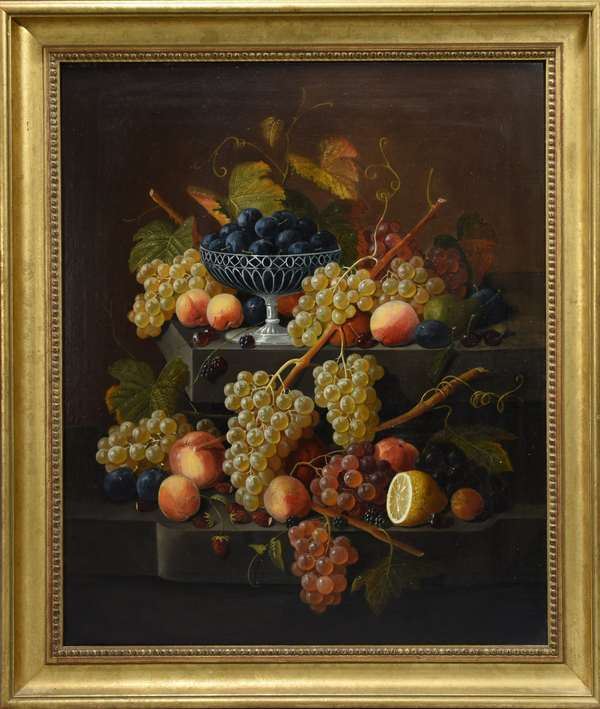 Severin Roesen (Am. 1815-1872) oil on canvas still life of fruit on two stepped marble ledge, silver basket filled with plums, grapes, peaches, cherries, blackberries, strawberries, pear and lemon further complete this still life.  Signed L.R. edge of ledge,