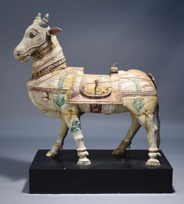19th C. Asian carved horse.  Large size, with traces of old paint.  48