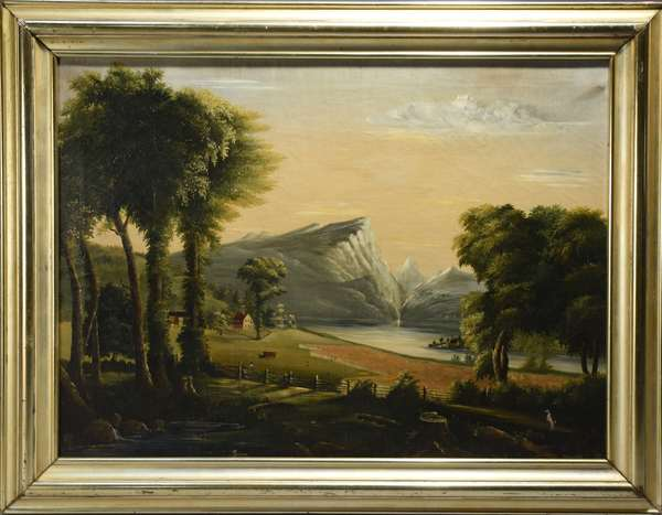 19th C. American primitive landscape, oil on canvas.  Homestead with split rail fence, figures, horses in the field and houses in the midground, river with mountains in the distance.  28