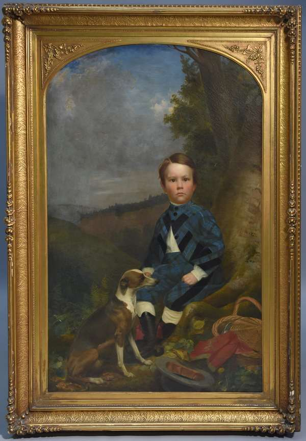 Lars-Gustaf Sellstedt (Swedish/Am.1819-1911) oil on canvas portrait of young boy.  Family history says this is the portrait of Edwin Morgan Fargo (1861-1865) son of William Fargo, founder of Wells-Fargo and American Express with his partner Henry Wells.  Edwin died at an early age and this is believed to be him.  Sellstedt was a prominent portrait painter in Buffalo, N.Y. in the 1960's.  Young boy seated on a tree in his fine clothes, his dog stands at his feet.  56