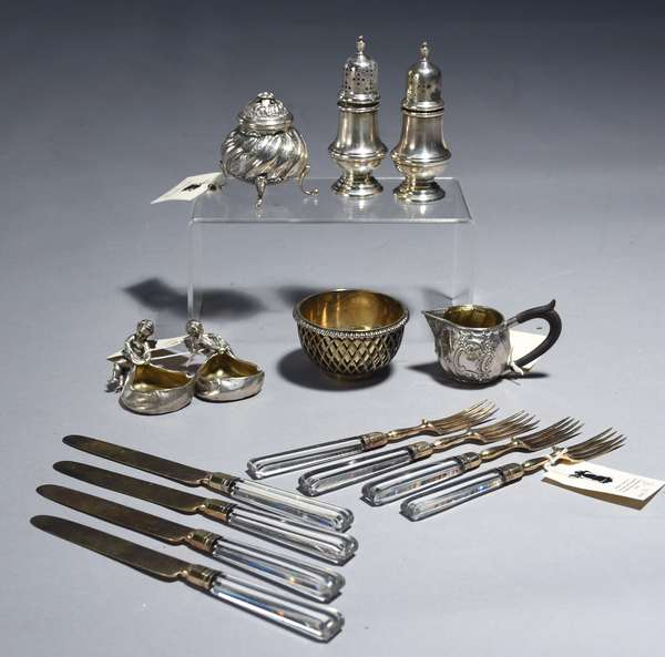 Eight pieces of assorted silver items.  188 Paul Storr master salt, 4 oz.; eight piece rock crystal and sterling fruit set 1805 Wm.Eley & Wm. Fearn; two figural Continental salts .800; one pair sterling salt & pepper; two pieces sugar & creamer .800