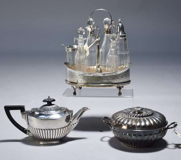 Three piece English sterling: one seven bottle castor set (one bottle missing, silver cap there) Robert & David Hennell 1799; two piece covered porringer-Thos. Holland 1805, 13.75 oz.; oval ribbed teapot, 20th C. 9.5 oz.
