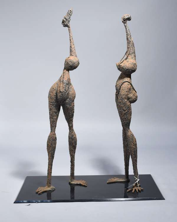 Mid-Century welded iron figures of two standing women, 45