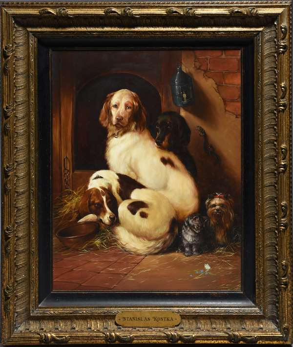 Stanislas Kostka (Pol. 1954-) oil on canvas of seated dogs with cat.  24