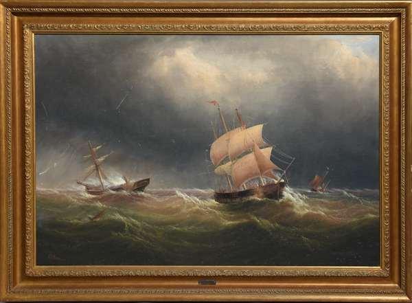 E.K. Redmore, Edward King Redmore (Br. 1860-1941) marine scene, ships foundering in a rough sea, 20