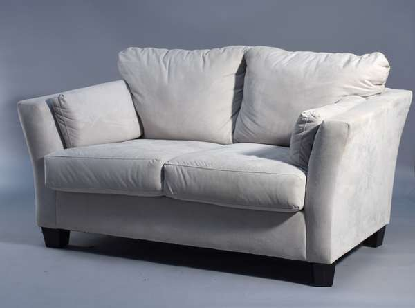 Two tan suede two seat sofas, square black feet, 64