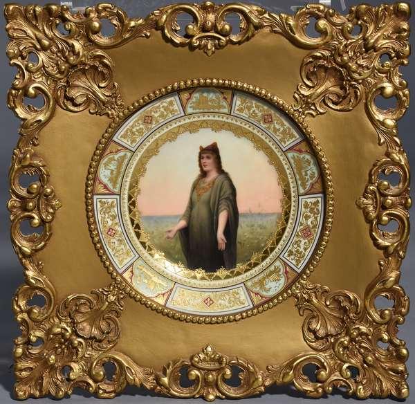 Royal Vienna portrait plate in ornate frame.  Artist signed Riditz (?) blue underglaze bee hive, ca.1880, 9.5