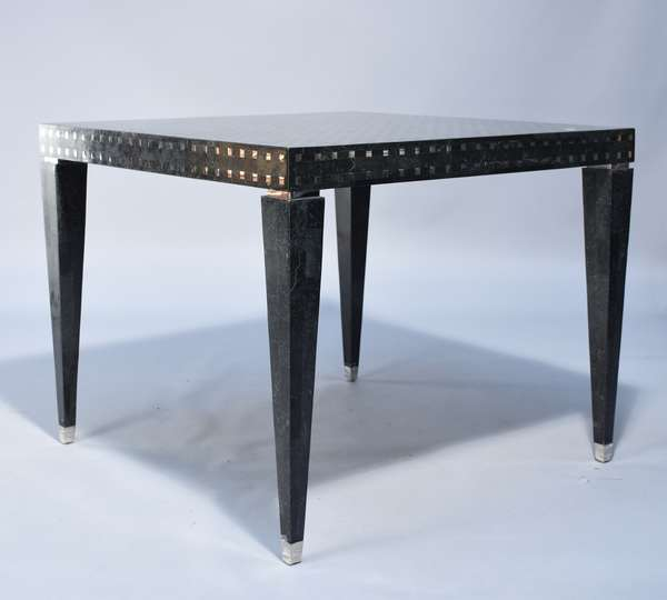 Black lacquer and inlay chrome square table, 36