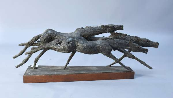Bronze statue of three running horses, 13