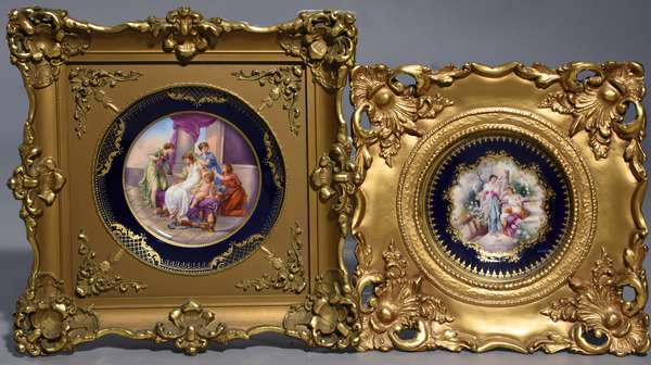 Two cabinet plates in ornate frames, one 9.25