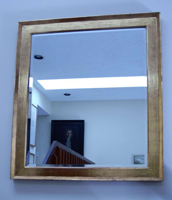 Good gold leaf mirror with beveled glass 42.75
