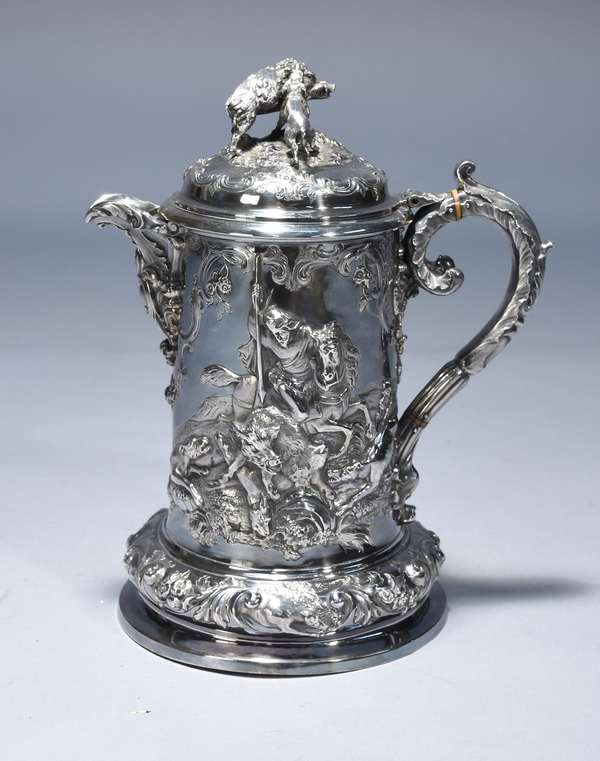 English Victorian sterling hunting scene pitcher.  London 1856 ,made by Richard Hennell, extreme detail of wild boar hunting, 13