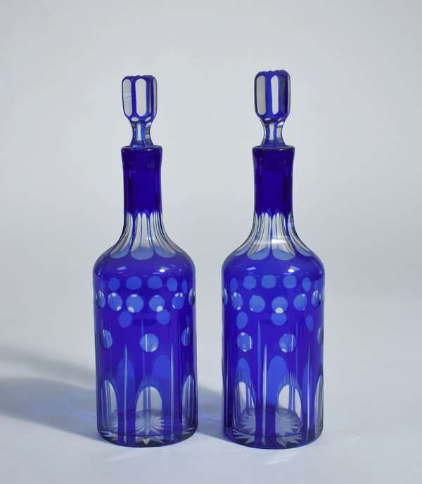 Pair of cut overlay cobalt to clear decanters, 13
