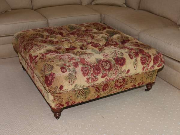 Large Lee Industries ottoman with floral upholstery, 44