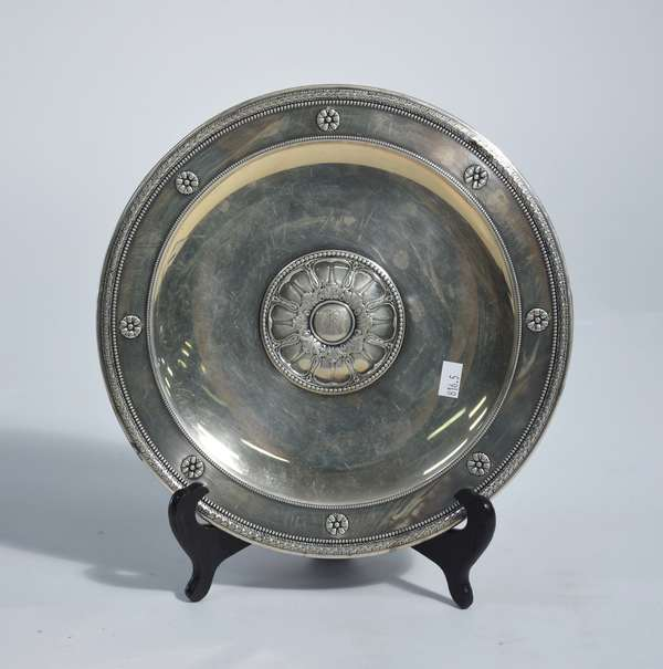 Fancy Gorham sterling footed cake plate, 10.75