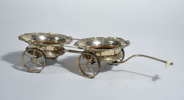 English silverplate (previously catalogued as sterling) double bottle caddy/ pull cart, bottle coasters on wheels, 19.25