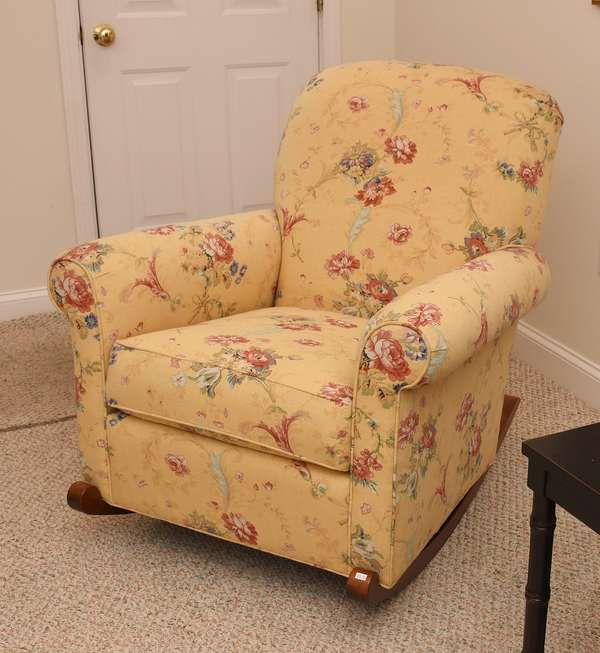 Floral upholstered yellow ground Conover chair Co. rocking chair