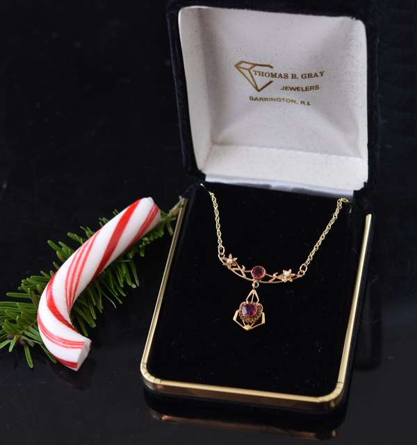 14k yg lavalier necklace set with two rubies and seed pearls