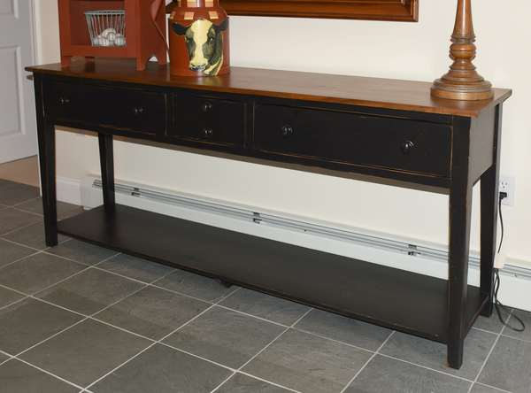 Custom made Eddy West three drawer console with lower gallery, 70