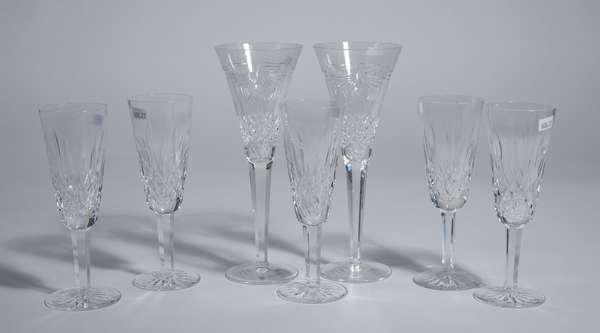 Seven Waterford crystal champagne stemware/ glasses, five 7