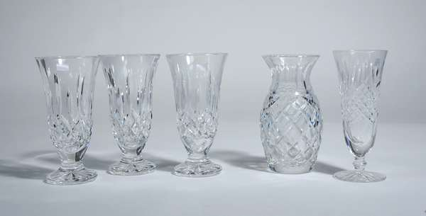 Assembled lot of five Waterford crystal vases, approx. 7